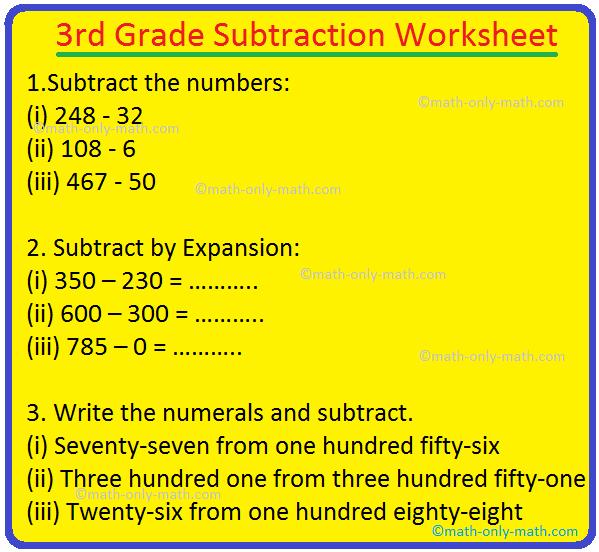 3rd Grade Subtraction Worksheet