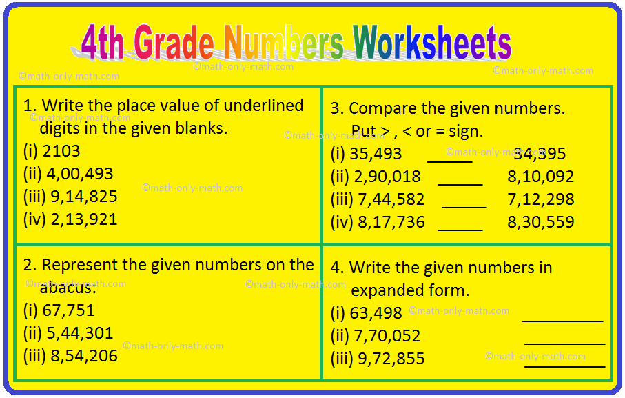 4th Grade Numbers Worksheets