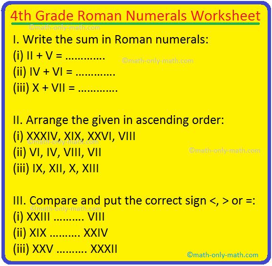 4th Grade Roman Numerals Worksheet