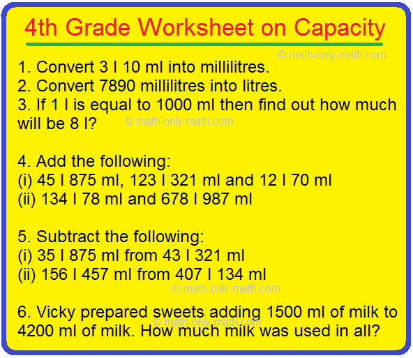 4th Grade Worksheet on Capacity