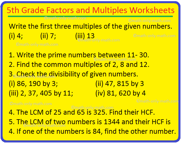 5th Grade Factors and Multiples Worksheets