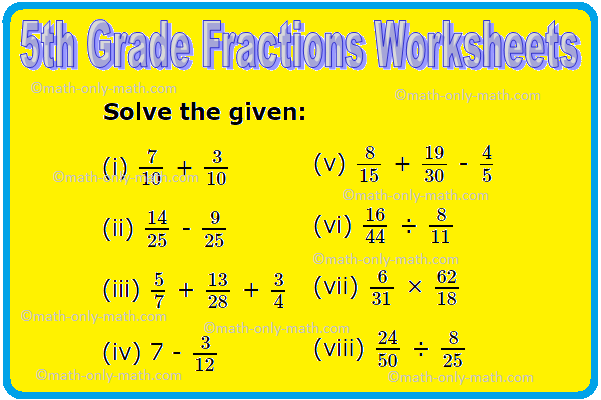 5th Grade Fractions Worksheets Comparison Of Fractions Addition