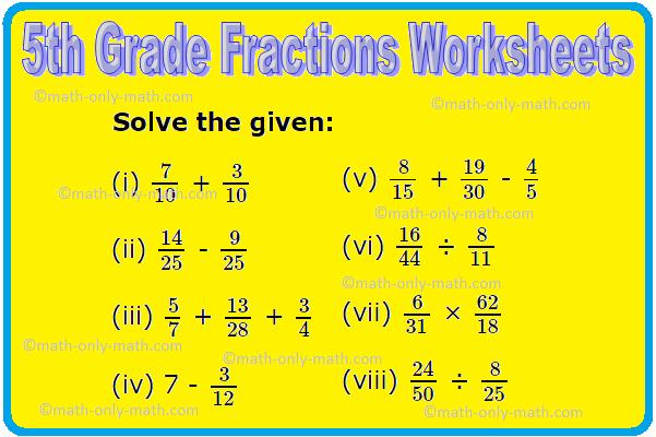 5th Grade Fractions Worksheets
