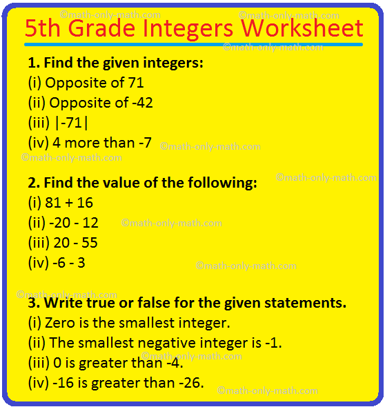 5th Grade Integers Worksheet Addition And Subtraction Of Integers