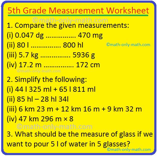 5th Grade Measurement Worksheet