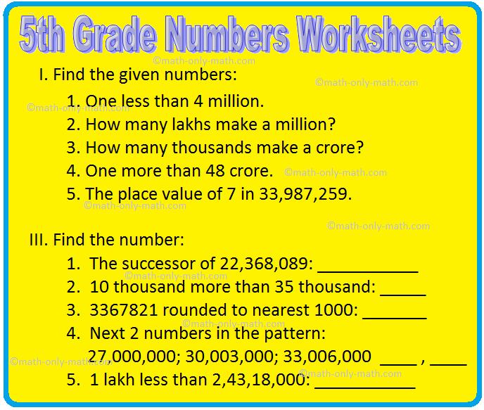 5th Grade Numbers Worksheets