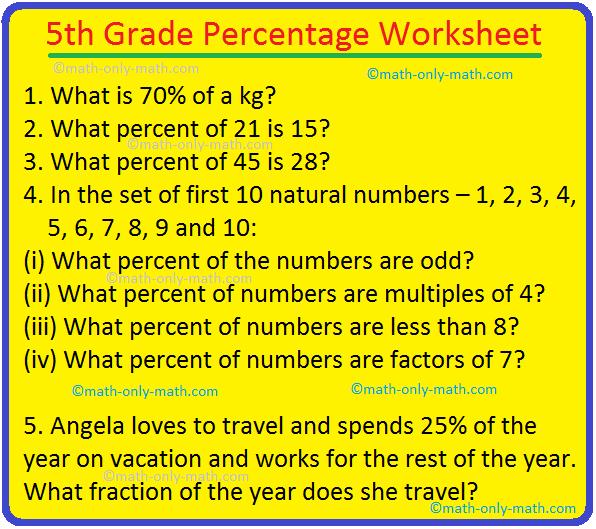5th Grade Percentage Worksheet