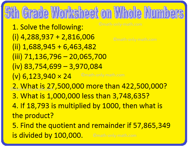 5th Grade Worksheet on Whole Numbers