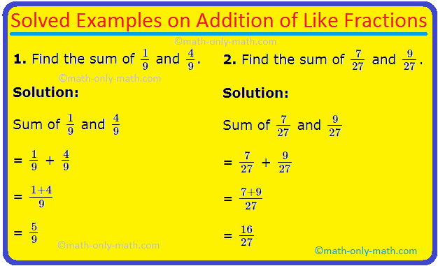 Addition of Like Fractions