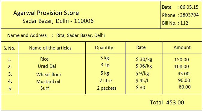 Billing of different Items