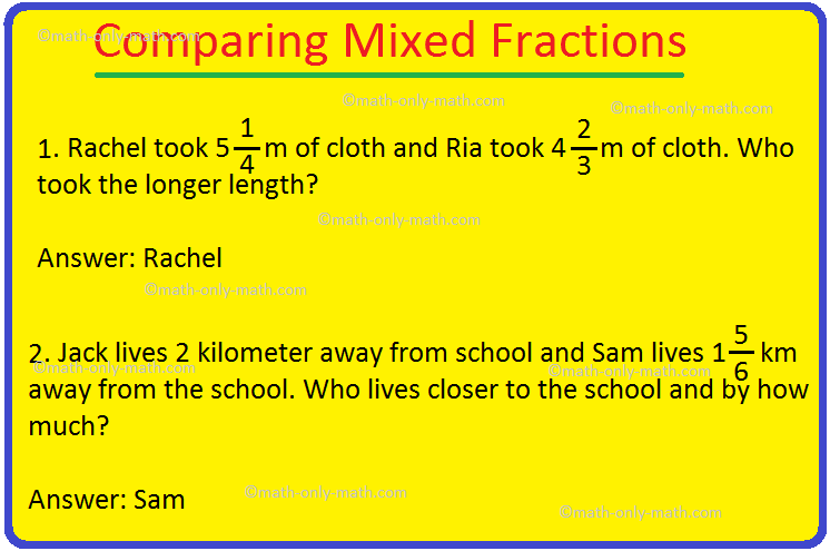 Comparing Mixed Fractions