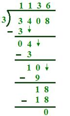 Division of Four-Digit by a One-Digit Numbers