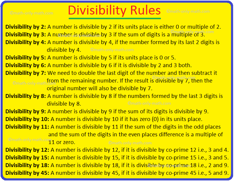 Divisibility Rules Divisibility Test Divisibility Rules From 2 To 18