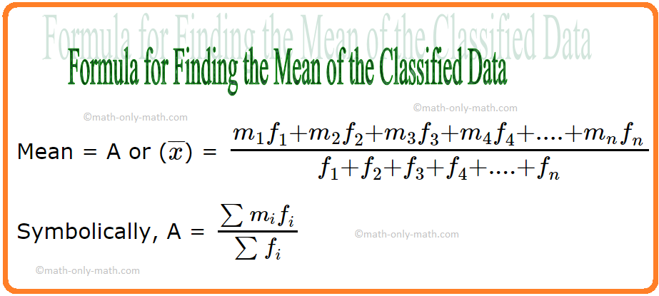Formula for Finding the Mean of the Classified Data