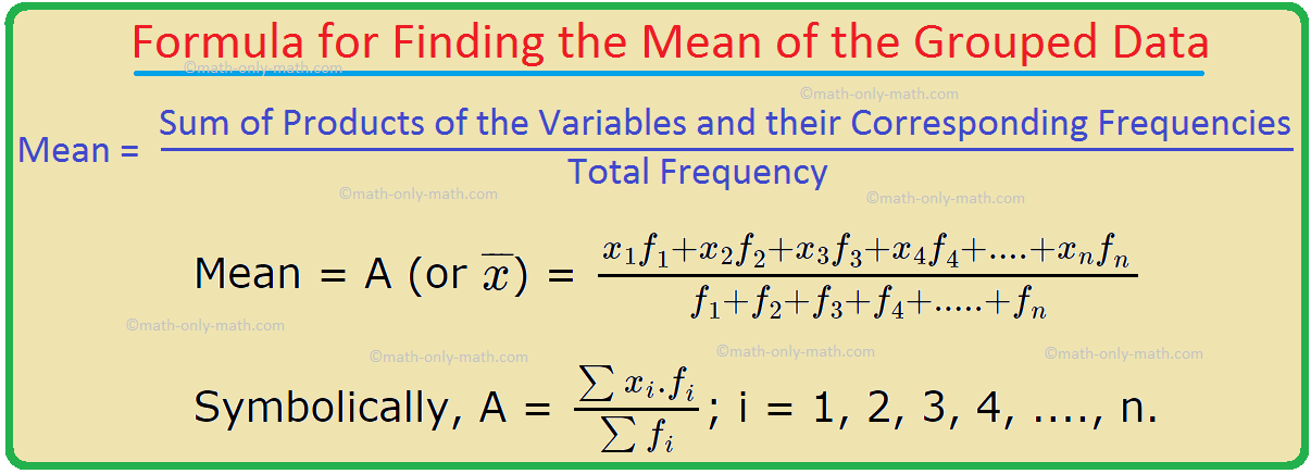 Formula for Finding the Mean of the Grouped Data
