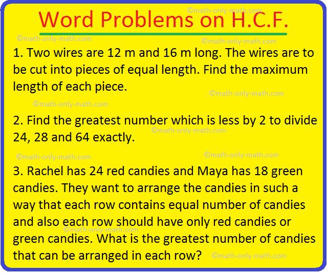Word Problems on H.C.F.
