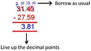 How to Subtract Decimal Number?