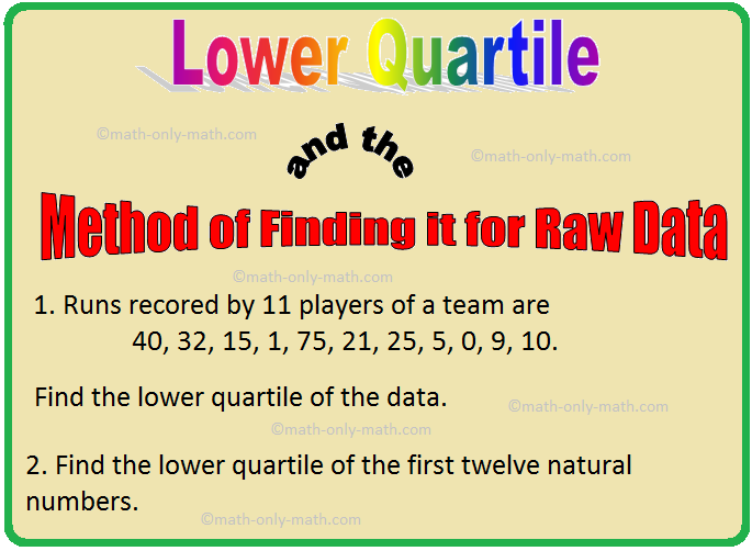 Lower Quartile and the Method of Finding it for Raw Data