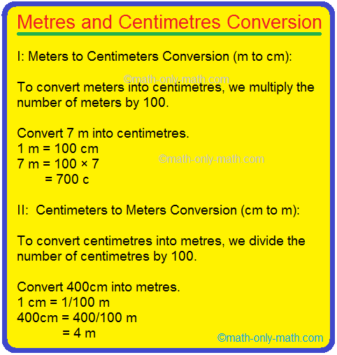 Metres and Centimetres Conversion