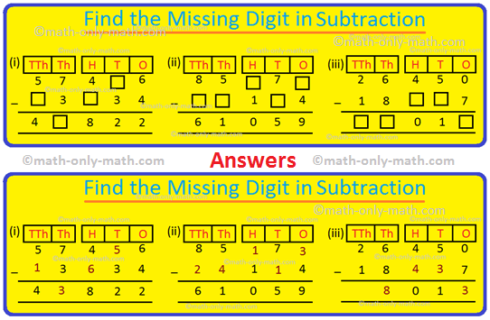 Missing Digit in Subtraction