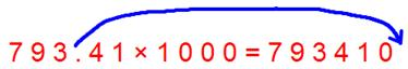 Multiplication by 1000