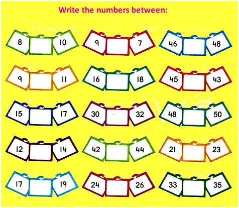 math worksheet : number that comes between  find the middle number  worksheet on  : Before And After Worksheets For Kindergarten