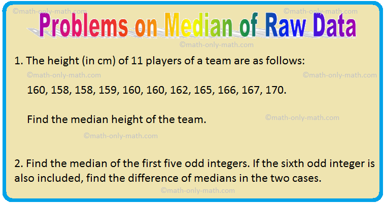 Problems on Median of Raw Data