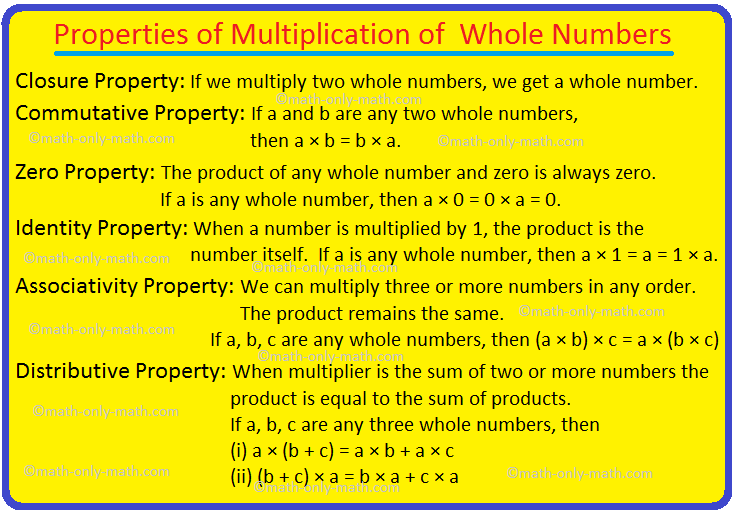 Properties of Multiplication of Whole Numbers
