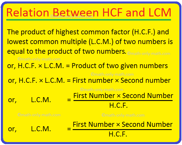 Relation Between HCF and LCM