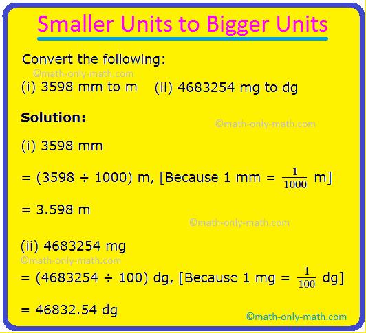 Smaller Units to Bigger Units