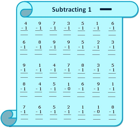 Worksheet on Subtracting 1 – Subtracting 0 1 2 Worksheets