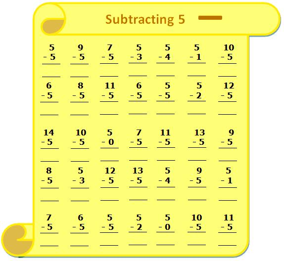 Worksheet On Subtracting 5, Questions Based On Subtraction