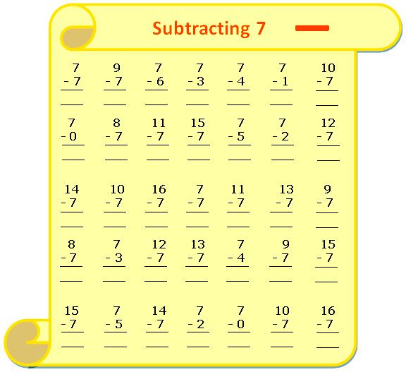 Worksheet On Subtracting 7 Questions Based On Subtraction