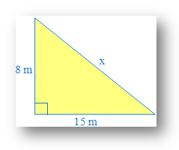 Value of x using Pythagoras Theorem