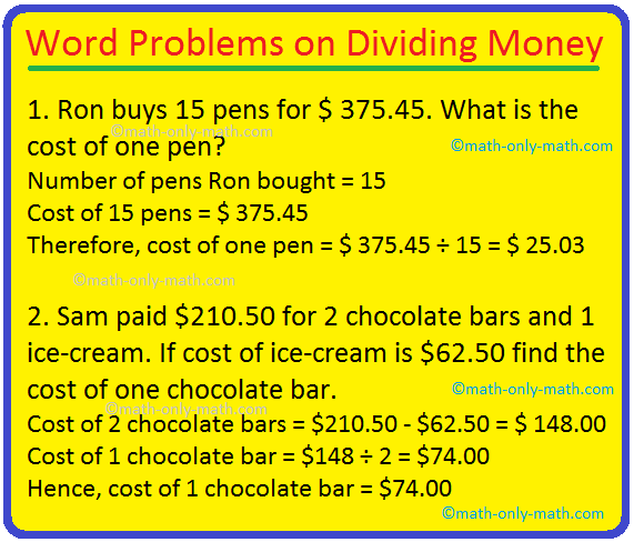 Word Problems on Dividing Money