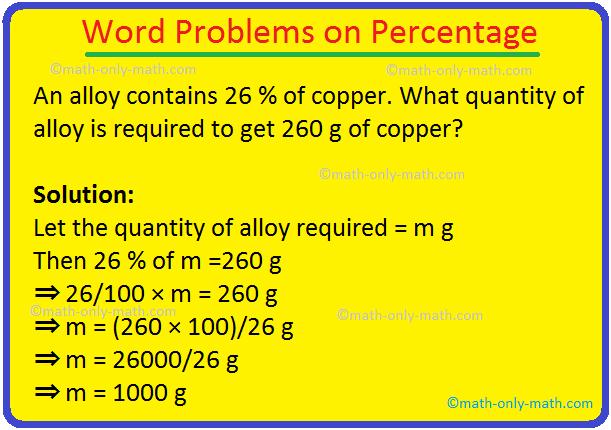 Word Problems on Percentage