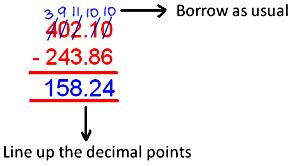 Word Problems on Subtracting Decimals
