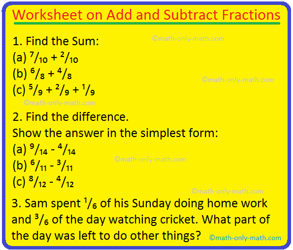 Worksheet On Add And Subtract Fractions Word Problems Fractions