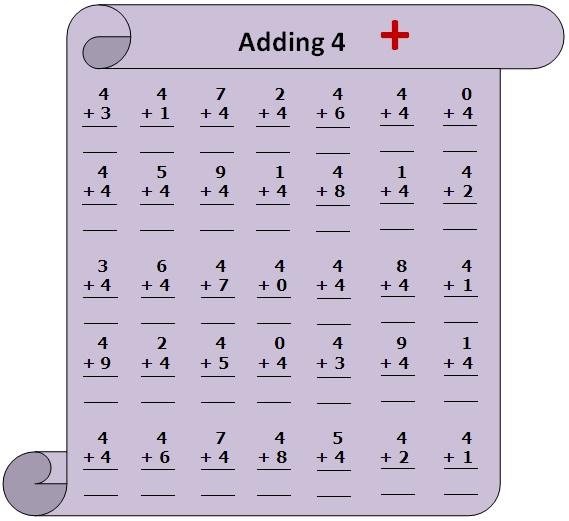 Worksheet on Adding 4