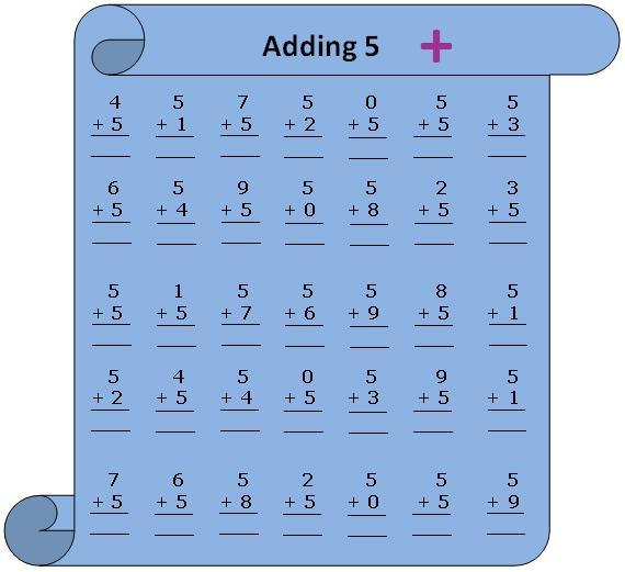 Worksheet on Adding 5