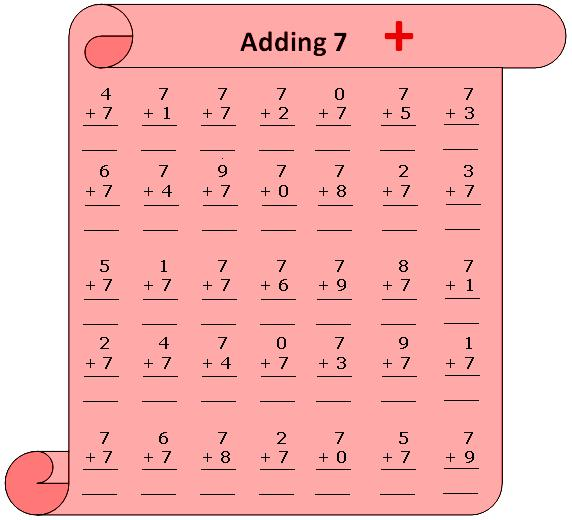 Worksheet on Adding 7 – Addition Table Worksheets