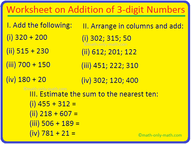 Worksheet on Addition of 3-digit Numbers
