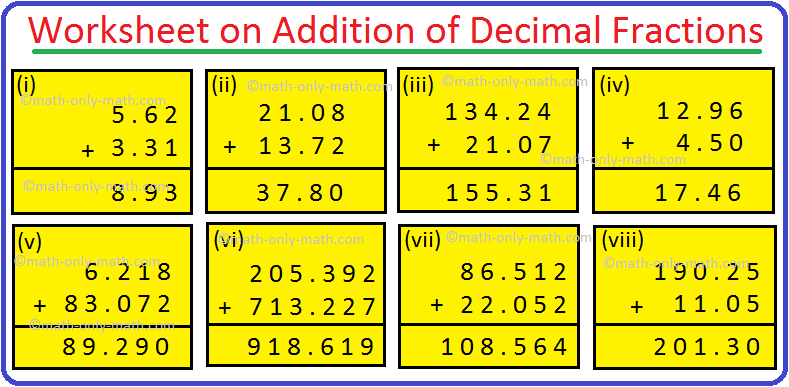 Worksheet on Addition of Decimal Fractions Answers