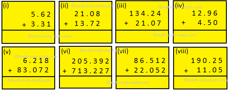 Worksheet on Addition of Decimal Fractions