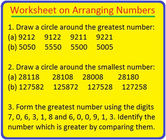 Worksheet on Arranging Numbers