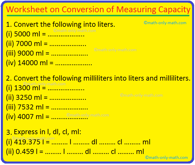 Worksheet on Conversion of Measuring Capacity