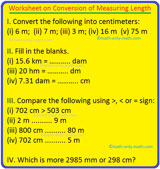 Worksheet on Conversion of Measuring Length
