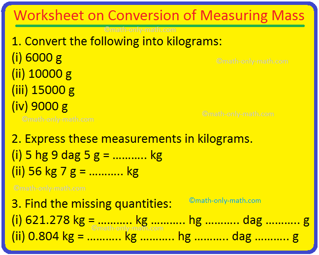 Worksheet on Conversion of Measuring Mass