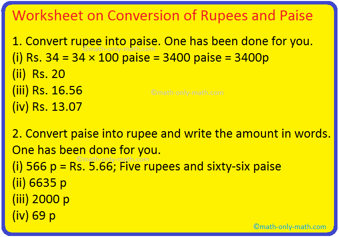 Worksheet on Conversion of Rupees and Paise