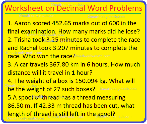 Worksheet On Decimal Word Problems |Prob Involving Order Of Operations